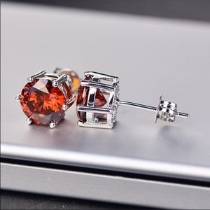 Jewelry - RESTOCKED! 2Ct CZ 8MM Ruby 925 St Silver Studs
